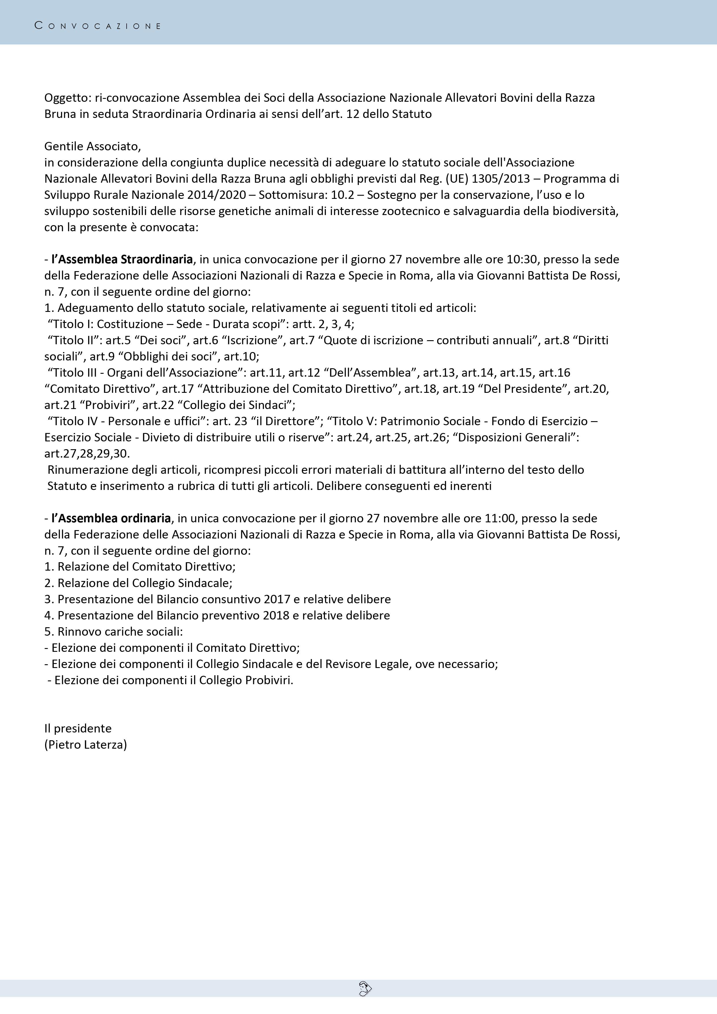 aae734eda587 CONVOCAZIONE ASSEMBLEA ORDINARIA DEI SOCI
